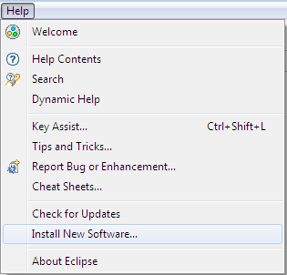 Eclipse help menu item