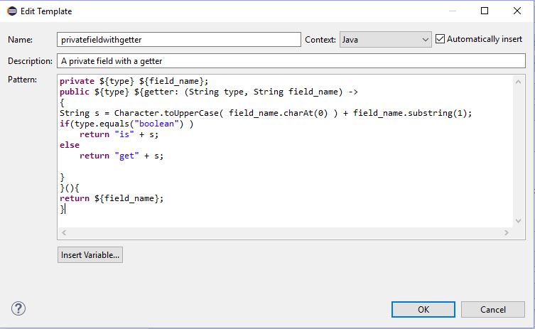 using templates in java - java coded templates or code snippets eclipse