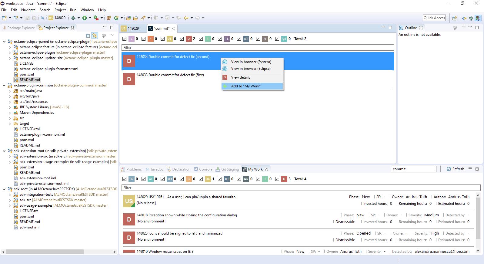 Eclipse IDE Integration for ALM Octane   Eclipse Plugins