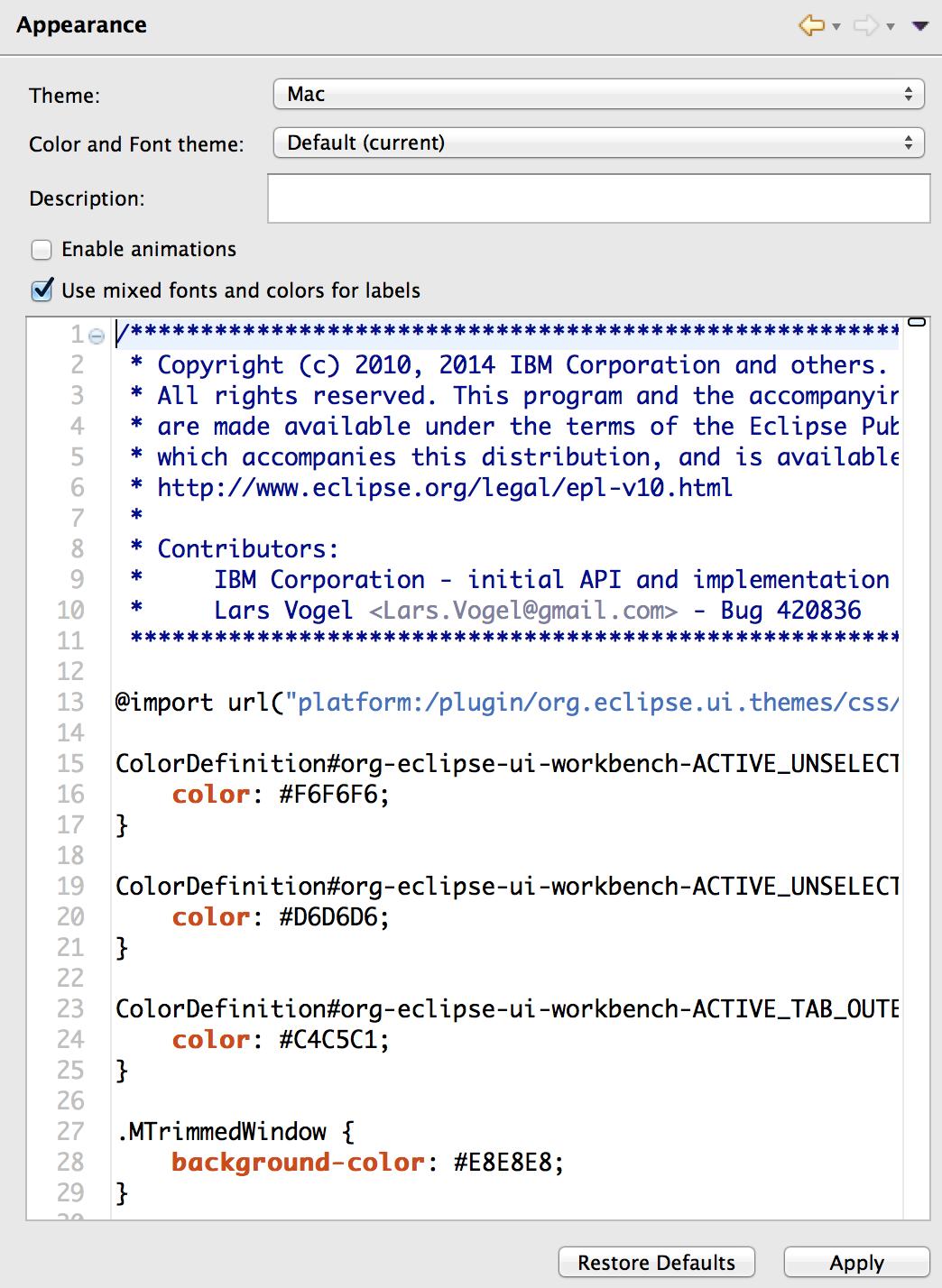 Gmail theme css - Eclipse 4 Tools Lightweight Css Editor