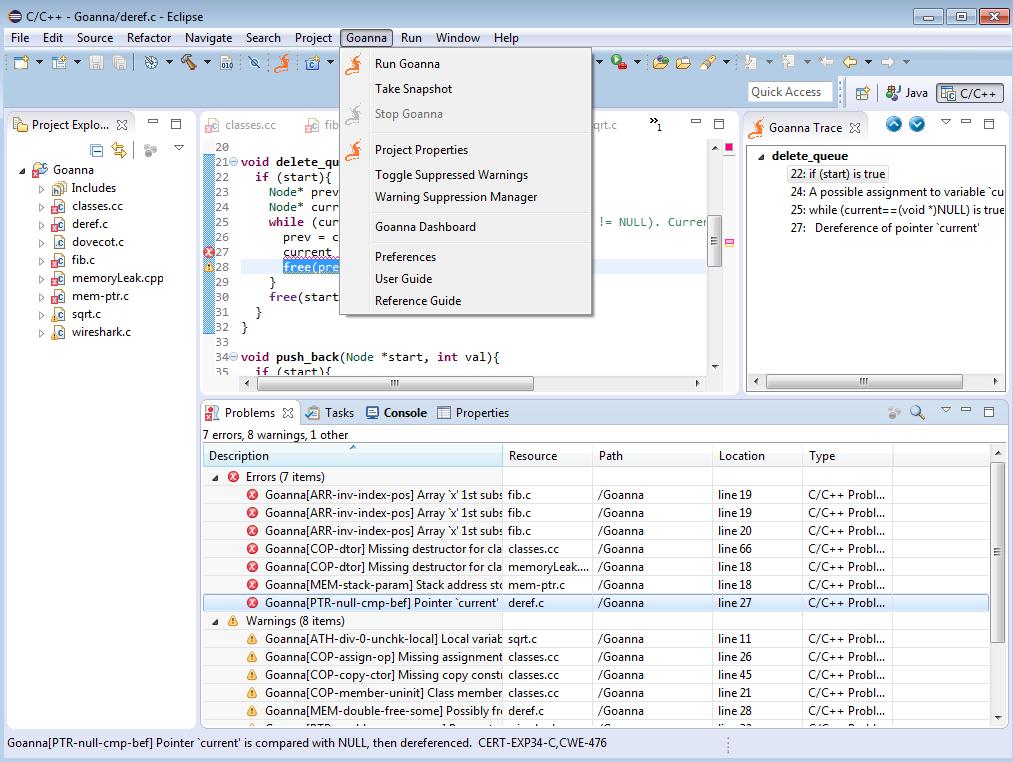 Goanna Studio - Static Analysis for C/C++   Eclipse Plugins ...