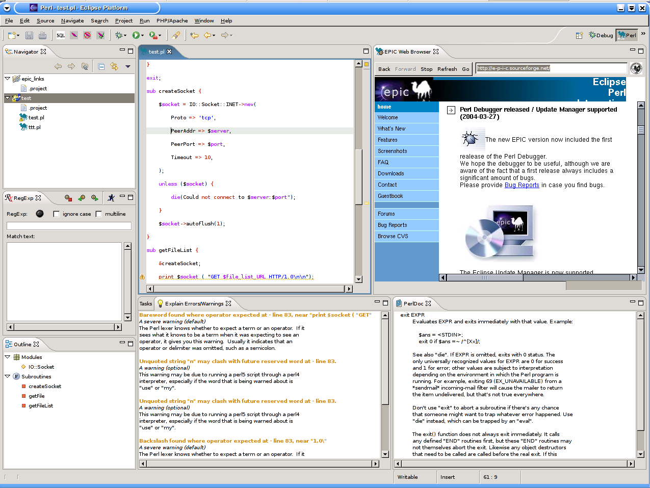 EPIC - Eclipse Perl Integration | Eclipse Plugins, Bundles and