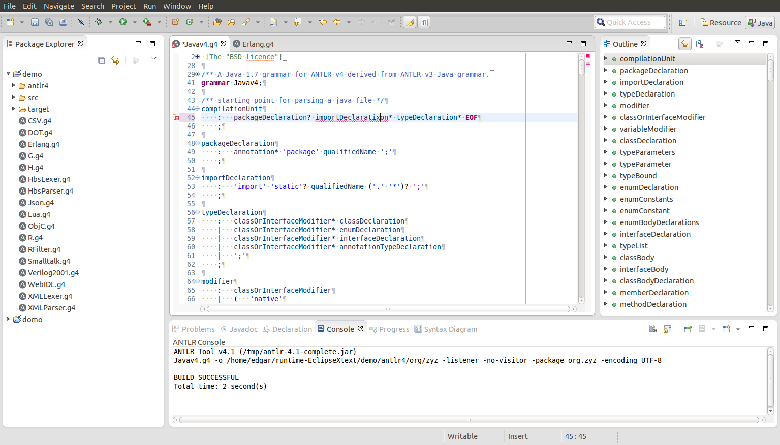 ANTLR 4 IDE   Eclipse Plugins, Bundles and Products