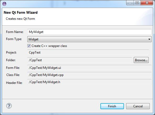 CDT New Qt Form Wizard | Eclipse Plugins, Bundles and Products