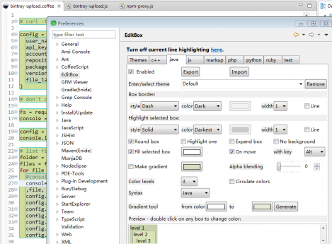 how to change eclipse java editor background color