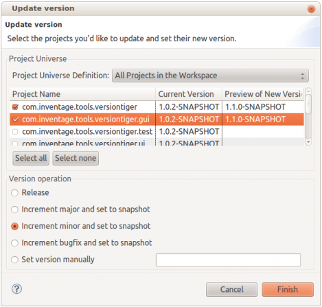 Version Tiger | Eclipse Plugins, Bundles and Products