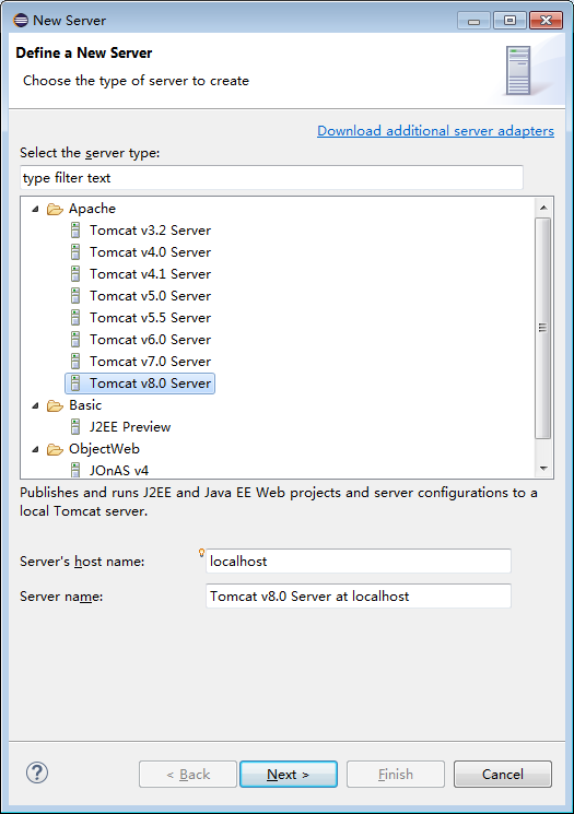 how to add tomcat server adapter in eclipse